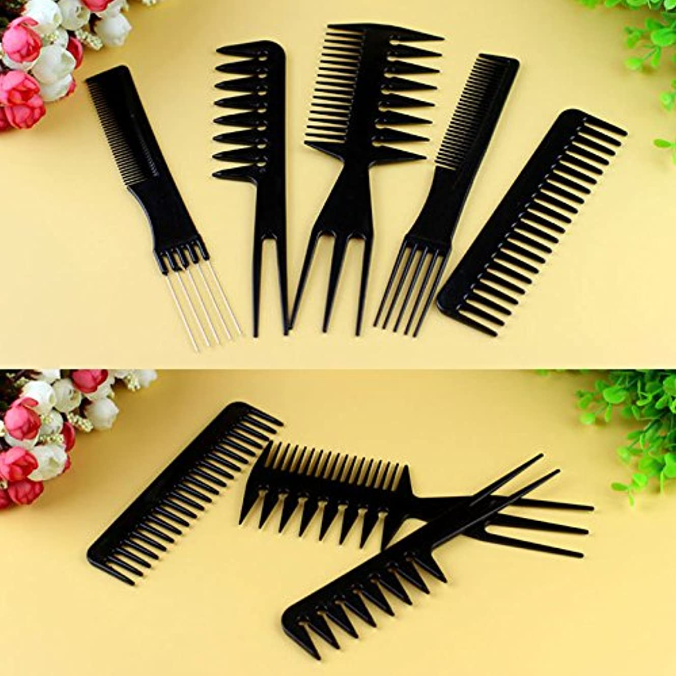 無駄な光の親密なMSmask 10個入りブラックプロサロン ヘアスタイリング理髪 プラスチック理髪店 ブラシコムズセット