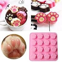 ZoCenterShop(TM) 猫犬足シリコーンクッキーケーキキャンディーチョコレート型石鹸アイスキューブ型 - LD