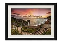 海、海岸、アーチ、ビーチ、夕日 風景の写真 黒色の木製フレーム 額縁 壁掛け ホーム装飾画 装飾的な絵画 壁の装飾 ポスター(30x40cm)