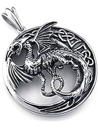 [テメゴ ジュエリー]TEMEGO Jewelry メンズステンレススチールヴィンテージペンダントゴシック翼竜ネックレスチェーン、ブラックシルバー[インポート]