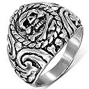 指輪 リング サージカル ステンレス 316L シルバー 銀色 スカルウィザードステンレスリング(RMT231)サイズ/31号 ドクロ 骨 ボーン ガイコツ 印台型 親指 大きいサイズ 薬指 小指 関節 アクセサリー