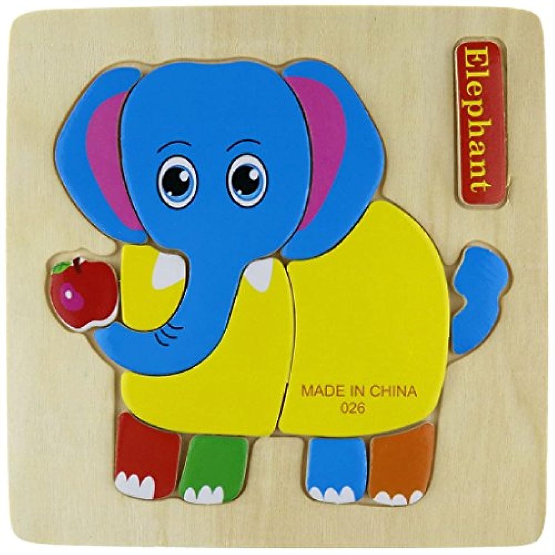 sumperth木製動物パズル組み立て木製象Educational Toy Children Kids Game