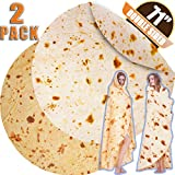 Innocedear Burritos Blanket,2 Pack Double Side Flannel Tortilla Blanket 71 inches,Comfortable Soft Novelty Giant Taco Blanket,Funny Gag Gifts for Adults&Kids-Style 1