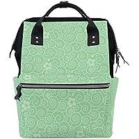 ママバッグ マザーズバッグ リュックサック ハンドバッグ 旅行用 花柄 緑 ファション