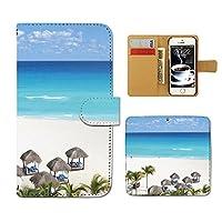 (ティアラ) Tiara AQUOS SIMフリー SH-M04 スマホケース 手帳型 海 手帳ケース カバー夏 海水浴 海岸 サマー マリン E0151030091903