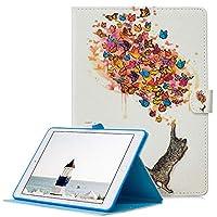 iPad 9.7 2018 / 2017カバーPainted 高級 レザーTPU内側 オートスリープスタンド機能 財布型 手帳型(猫キャッチ蝶)