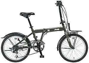 JEEP(ジープ) 20インチ折りたたみ自転車 シマノ6段変速 前後泥除け フロントキャリア JE-206G OLIVE