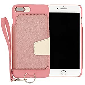 RAKUNI Light PU Leather Case Book Type with Strap for iPhone 7 Plus (ピンク) PUレザー スタンド機能 カードケース カバー ストラップホール付き RCB-7P-PK