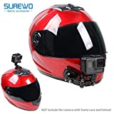 SUREWO ヘルメット カメラ マウント [ GoPro Hero 対応 ] 日本語説明書付 アゴ部分にも アクションカメラを取り付け固定 [ バイク 動画 の必需品 ]