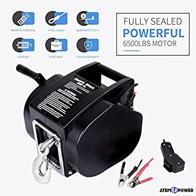 ATEMPOWER Electric Winch, Wireless Remote Control 12V 6500lbs/3000kg Portable Winch for Boat Truck ATV