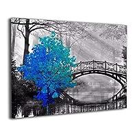 Hao Jinsun Teal Blue Gray Black Tree Bridge キャンバス アートボード アートフレーム インテリア絵画 おしゃれ モダン フレーム 部屋飾り 絵画 壁掛け アートストリート バンクシー ポスター