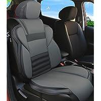 MEIKO レザー 皮革 汎用 クッション カー シートカバー ベンツ BMW アウディ フォルクスワーゲン トヨタ ホンダ 日産 普通車 後席 後部座席 赤 (jp11-gy)