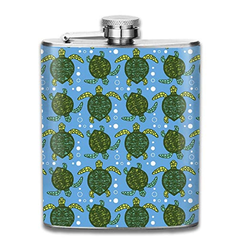 裁判官保守可能極貧緑の亀 フラスコ スキットル ヒップフラスコ 7オンス 206ml 高品質ステンレス製 ウイスキー アルコール 清酒 携帯 ボトル
