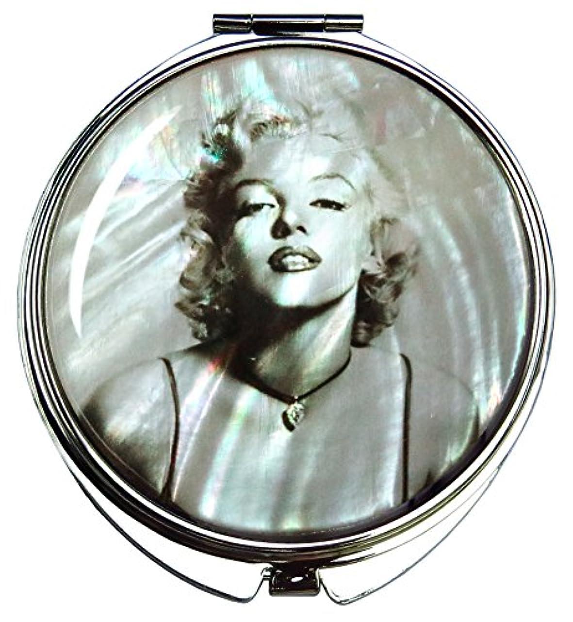 置くためにパック陰気はぁマリリン・モンローの螺鈿(らでん)の金属デュアルコンパクトな折りたたみと拡大の化粧鏡 灰色 [並行輸入品]