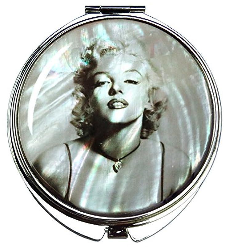 キャッシュモスク供給マリリン?モンローの螺鈿(らでん)の金属デュアルコンパクトな折りたたみと拡大の化粧鏡 灰色 [並行輸入品]