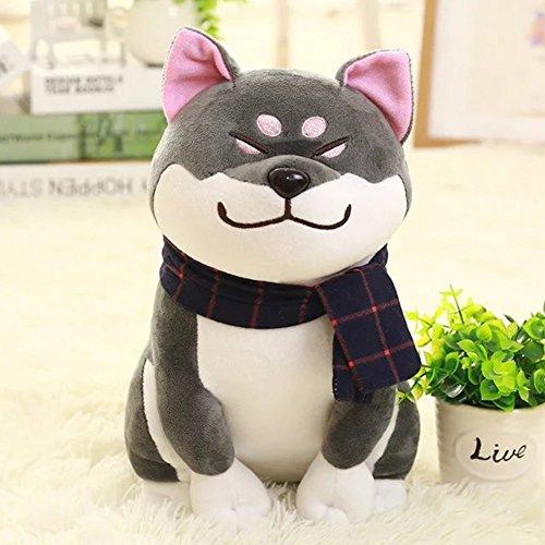 Liebeye ぬいぐるみの玩具 かわいい秋田の犬のぬいぐるみは動物のぬいぐるみソファの枕をぬいぐるみ子供のためのグッドギフト良い世帯の飾り 25センチグレー