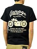 (ジーンズバグ)JEANSBUG MOTORCYCLE オリジナル バイカー プリント 半袖 Tシャツ メンズ レディース 大きいサイズ ST-MOTOR XL クロ×クリーム(21)