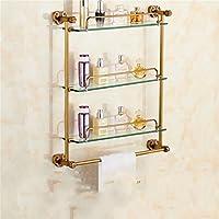 Cqq 浴室用ラック 模造古代ガラスバスルーム棚バスルームトイレ棚ドレッシングテーブルタオルラック (サイズ さいず : 43 * 64cm)