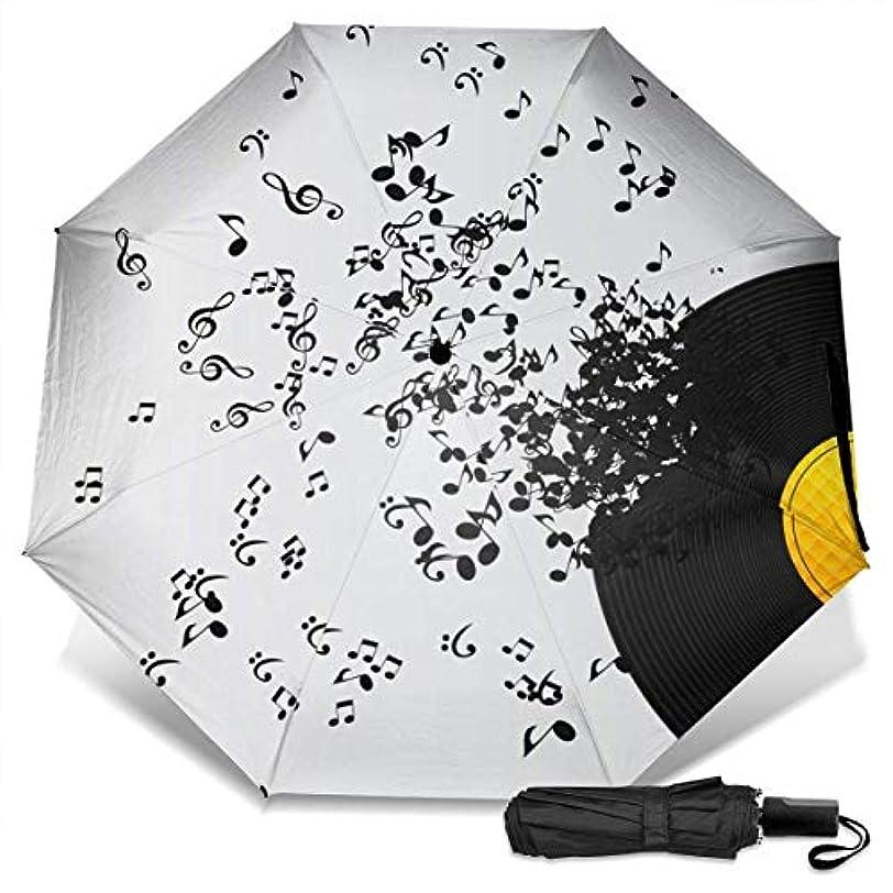マリナーメッセンジャーナチュラビニールレコードミュージックノートブラック折りたたみ傘 軽量 手動三つ折り傘 日傘 耐風撥水 晴雨兼用 遮光遮熱 紫外線対策 携帯用かさ 出張旅行通勤 女性と男性用 (黒ゴム)