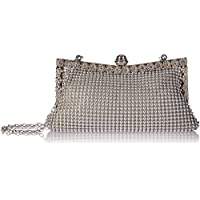 Patty Both Women's Aluminum Framed Clutch Bags Satin Inner Pearl Evening Bags (silver)