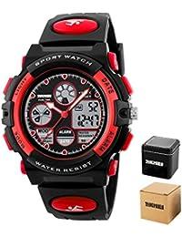 子供腕時計 デジアナ 防水 アラーム 日付 曜日 ストップウォッチ付き LEDバックライト ギフト用 赤