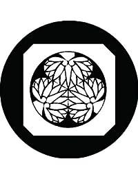 家紋シール 平隅切り鉄砲角に三つ葵紋 布タイプ 直径40mm 6枚セット NS4-2716