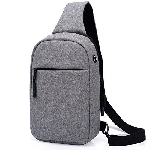 斜めがけバッグJoinValue ボディー・胸バッグ メンズ 大容量 2WAY アウトドア iPad miniも収納可能 (グレー)