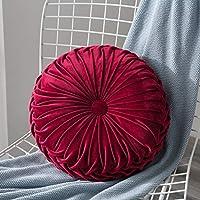 ベルベットプリーツラウンドカボチャスロー枕ソファクッション床枕装飾ホームソファ椅子ベッド車