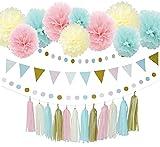 Furuix 誕生日 飾り付け ペーパーフラワー 誕生日飾り 特大 27点 おしゃれ 華やかな装飾セット 誕生日会 結婚式 祝日のデコレーション インテリア  ペーパーポンポン ペーパーフラワー ペーパータッセル ペナント ガーランド ブルー ピンク アイボリー