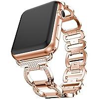 inverlee Apple Watchバンド、ステンレススチールブレスレットSmart Watch Band with Glitterダイヤモンド装飾ストラップfor Apple Watchシリーズ3 38 / 42 mm 38MM