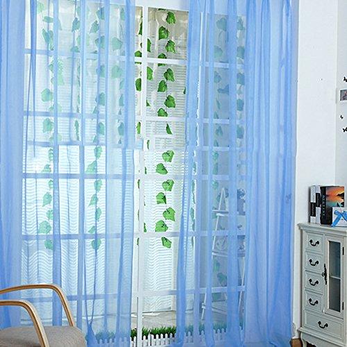 カラフルなカーテン ウェディングパーティーチュールボイルドア窓のカーテンドレープシアー (青)