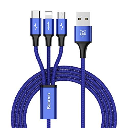 ライトニングケーブル Baseus USB Type-Cケーブル 3in1 充電ケーブル USB Type C / ライトニング / Micro USB ケーブル 3A急速充電 iOS / Android 同時給電可能 iPhone8 8plus 7 7 plus / 6 6s plus / iPad / Macbook 1本3役 多機種対応 1.2m ブルー