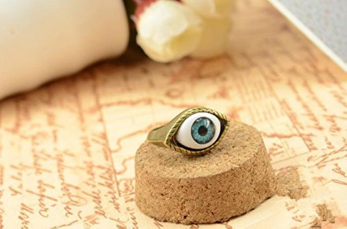 説明的噛む宗教的なJicorzo - ヨーロッパと米国のゴシックパンク風のレトロな青と茶色の鬼の目のリング宝石の1pcsを誇張[青]