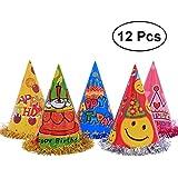 toymytoy誕生日パーティーコーン帽子、キュート誕生日帽子キッズ用、24 cm、12個
