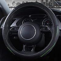 車のステアリングホイールカバーレザーディテールセットフォーシーズンユニバーサルタイプ通気性の吸汗性ノンスリップレザーハンドル (色 : A type black green)