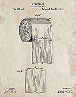 トイレットペーパーロール 特許プリントウォールアート - 面白いバスルーム装飾 - ヴィンテージオールドルック(40.64cmx50.8cm)