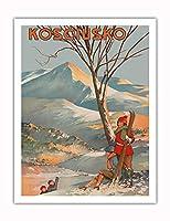 マウント Kosciuszko、オーストラリア - スキー - ビンテージな世界旅行のポスター によって作成された Geo. E. (ジョージ・アーネスト) アキンヘッド c.1925 - アートポスター - 51cm x 66cm