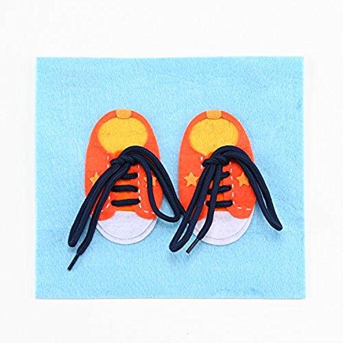 ハッピークローバー 靴紐が結べるようになるフェルト知育玩具 手作りフェルト教材【ひもとおし 靴ひもとおし】 日本製 fe-himosh