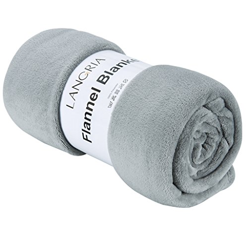 LANGRIA 毛布 シングル フランネル マイクロファイバー ベッド ソファー用 ひざ掛 昼寝に対応 冷房対策 丸洗い可 ふんわり 無地 150 cm x 200 cm (シングル, グレー)