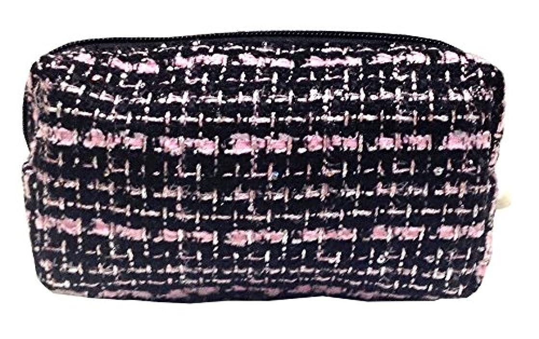 スタンド山積みの一人で化粧ポーチ 編み柄A BKxピンク【9070】