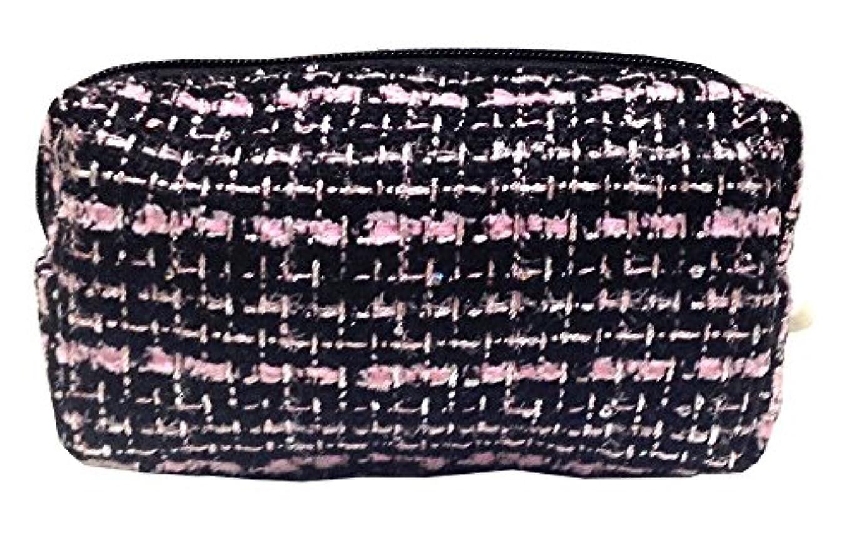 静的ちょうつがい変動する化粧ポーチ 編み柄A BKxピンク【9070】