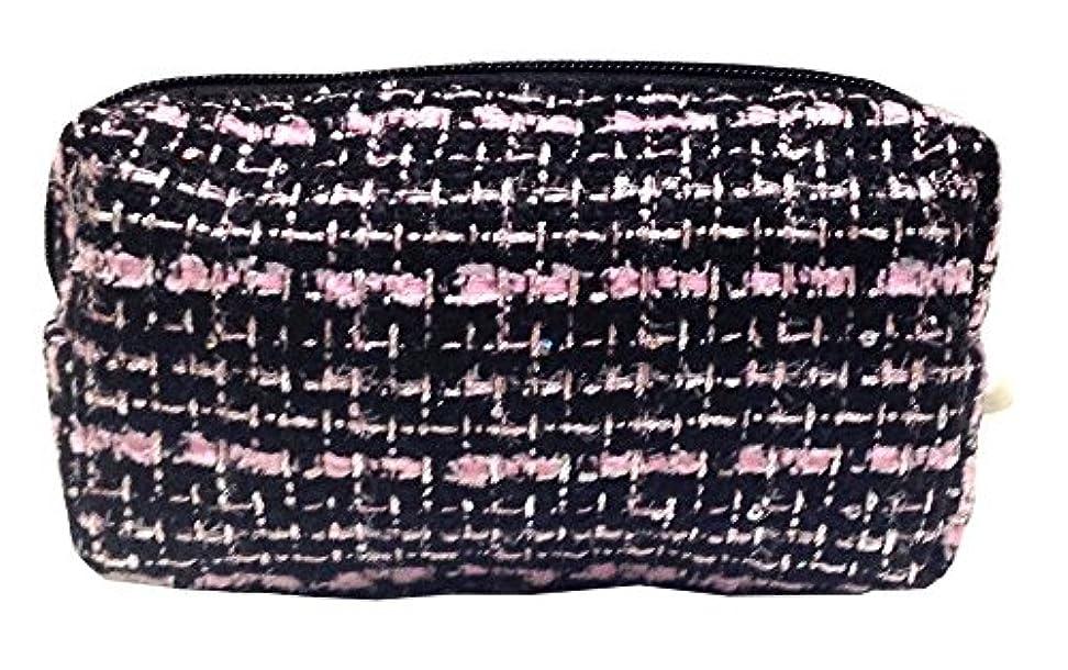 知る光のアマゾンジャングル化粧ポーチ 編み柄A BKxピンク【9070】