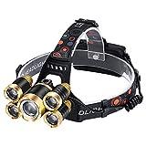 LEDヘッドライト50000LM 5 * T6ヘッドライトヘッド懐中電灯トーチの額USB 18650充電式ヘッドランプ釣りヘッドライト