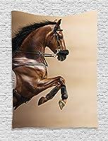 "Ambesonne動物インテリアコレクション、Horse Running Thunderstorm under clouds with Lightning Dreamy劇的Aim印刷、寮寝室リビングルーム壁吊りタペストリー、ブラックとホワイト 40"" W By 60"" L tap_16153_Horses_7.06_40x60"