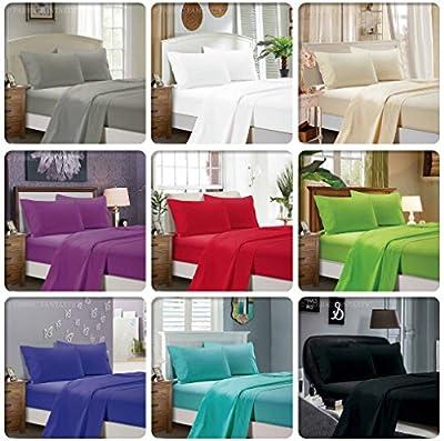 1000TC Ultra Soft 4pc Sheet Set (Flat Sheet & Fitted Sheet & 2 Pillowcases) - 5 Sizes Brand New
