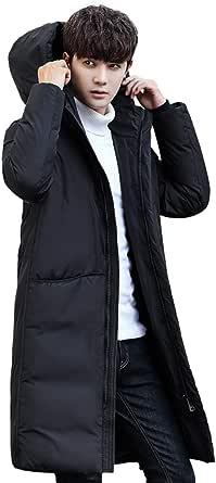 JHIJSC メンズ ダウンコート ロング コート ダウンジャケット 秋冬 無地 ビジネス 防風 防寒 大きいサイズ (XL, ブラック)