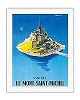 モン・サン・ミッシェルをご覧ください - ノルマンディー、フランス - ビンテージな世界旅行のポスター によって作成された ベルナール・ヴィユモ c.1955 - キャンバスアート - 51cm x 66cm キャンバスアート(ロール)