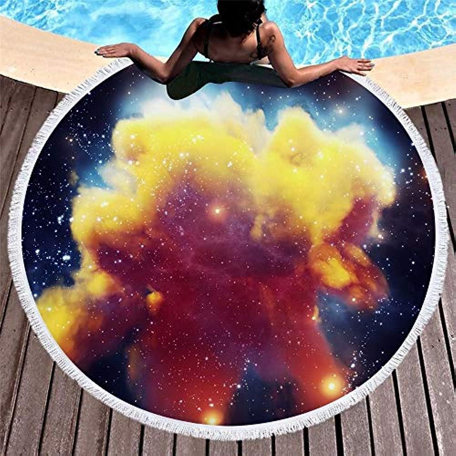 地質学それにもかかわらず終わり宇宙スタープリントラウンドビーチタオルタッセル付きマイクロファイバーヨガマットプールピクニック毛布150 Cm (色 : 77, サイズ : 150CM)