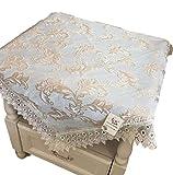 Oche ヨーロッパ風 レース きれいめ テーブルクロス 小さめ 正方形 コーヒーテーブル サイドテーブル 用 60cm×60cm (ブルー)
