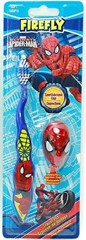 犯人噴出する悩む【スパイダーマン】キャップ付き歯ブラシ(ブルー)☆マーベル